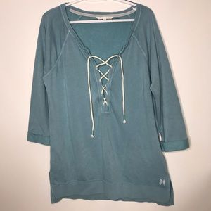 Victoria Secret lace-up front 3/4 sleeve sweater
